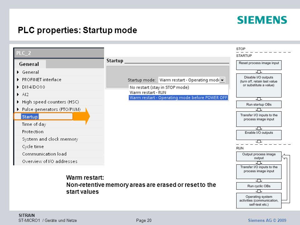 PLC properties: Startup mode