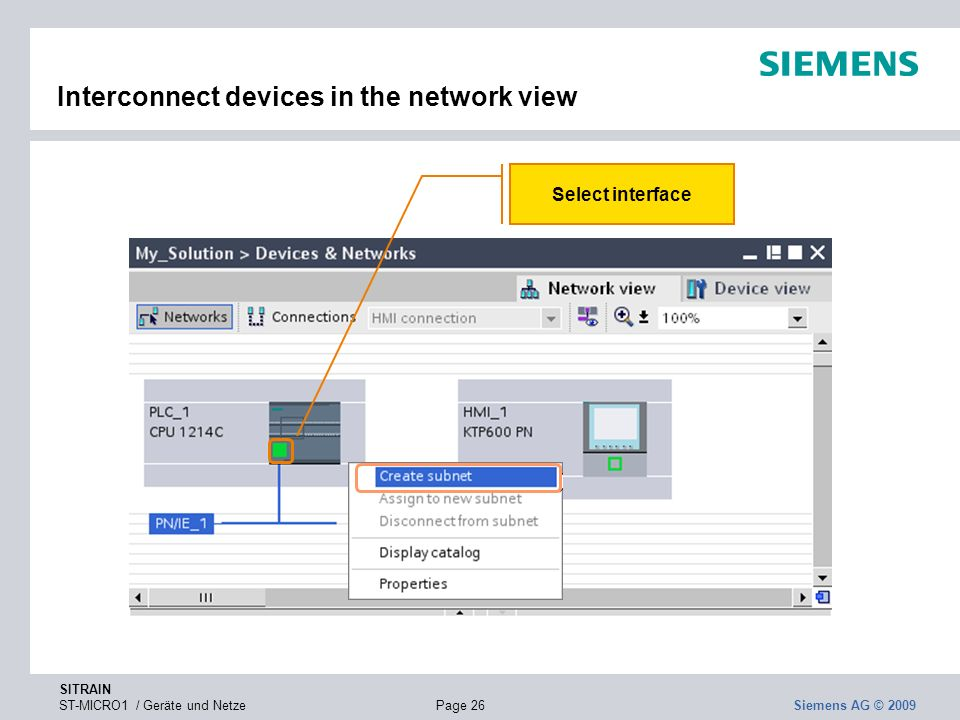 Interconnect devices in the network view