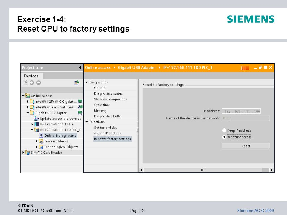 Exercise 1-4: Reset CPU to factory settings