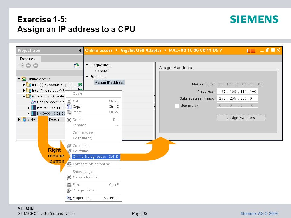 Exercise 1-5: Assign an IP address to a CPU