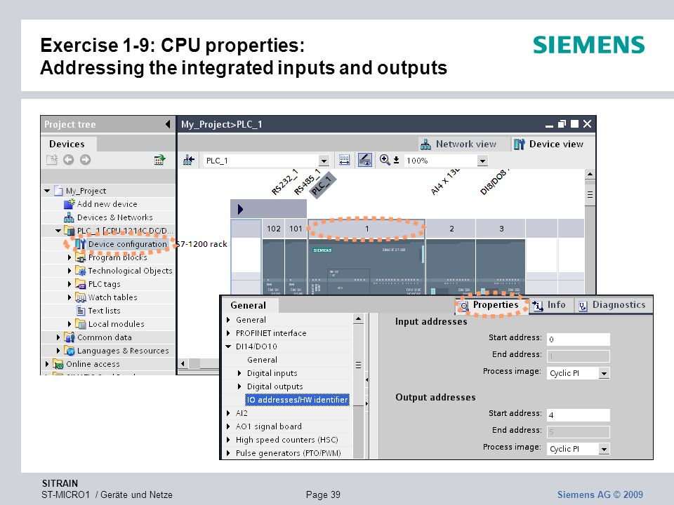 Exercise 1-9: CPU properties: Addressing the integrated inputs and outputs