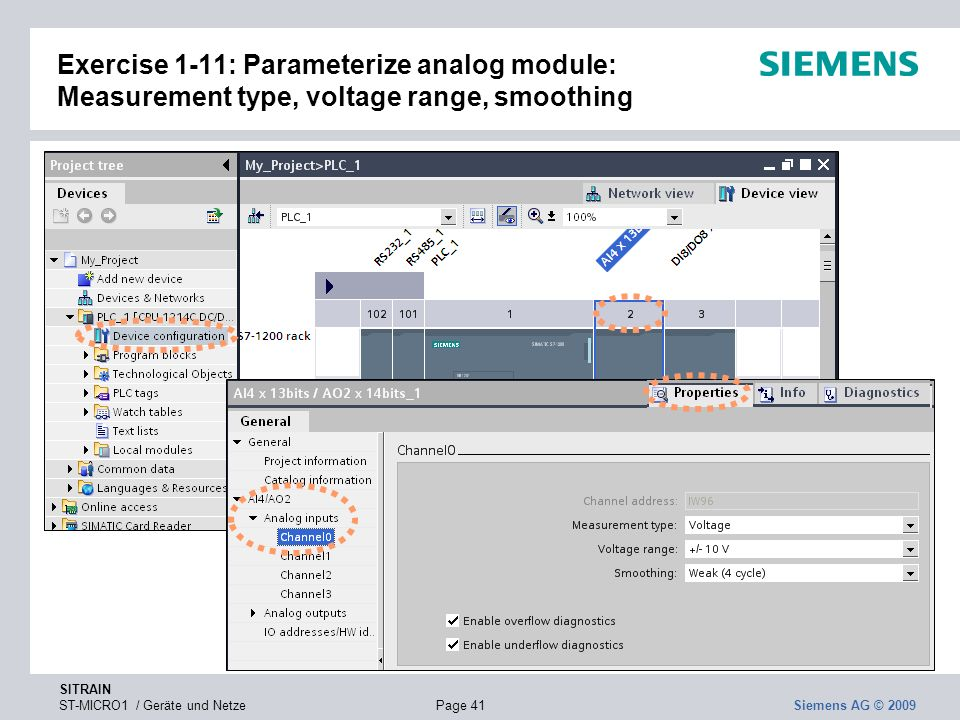 Exercise 1-11: Parameterize analog module: Measurement type, voltage range, smoothing