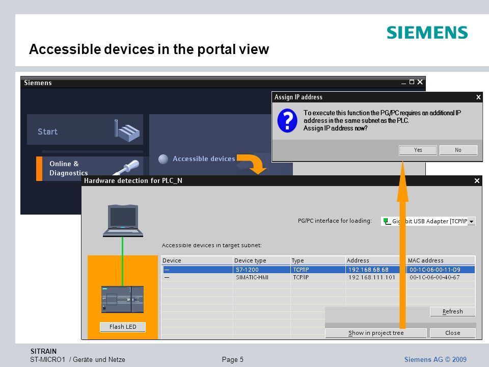 Accessible devices in the portal view