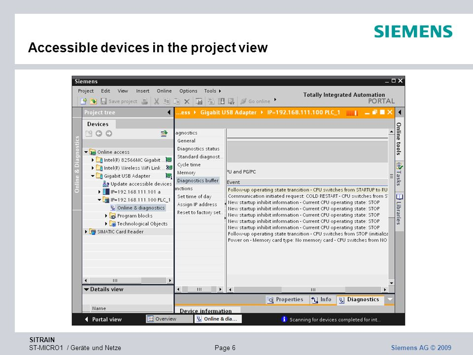 Accessible devices in the project view