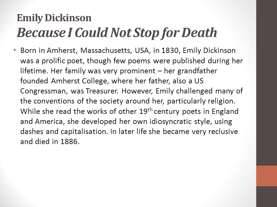 Emily Dickinson Because I Could Not Stop for Death