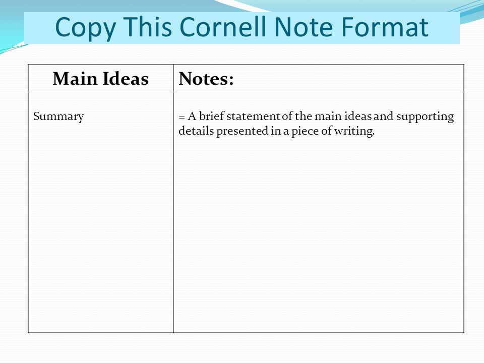 copy brief template - copy this cornell note format ppt video online download