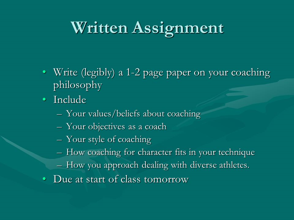 essay on coaching philosophy