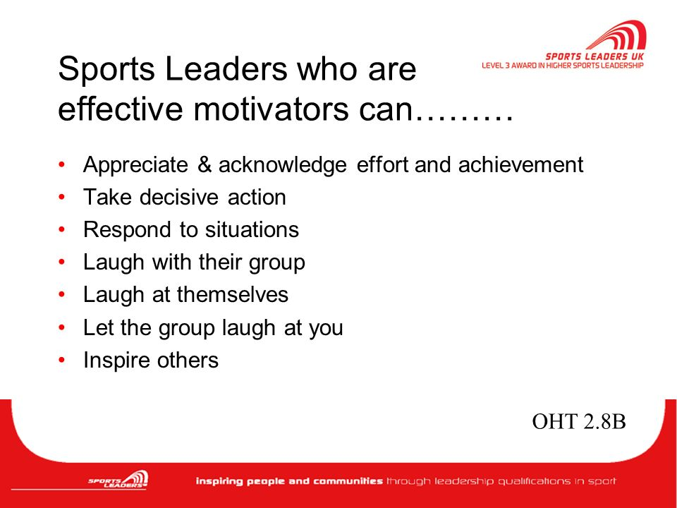 effective sports leader An effective leader is a person who is approachable you want your employees  to feel comfortable coming and talking to you so that you can keep the channels.