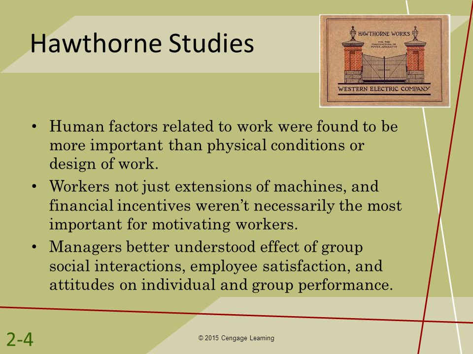 Hawthorne Studies Human factors related to work were found to be more important than physical conditions or design of work.
