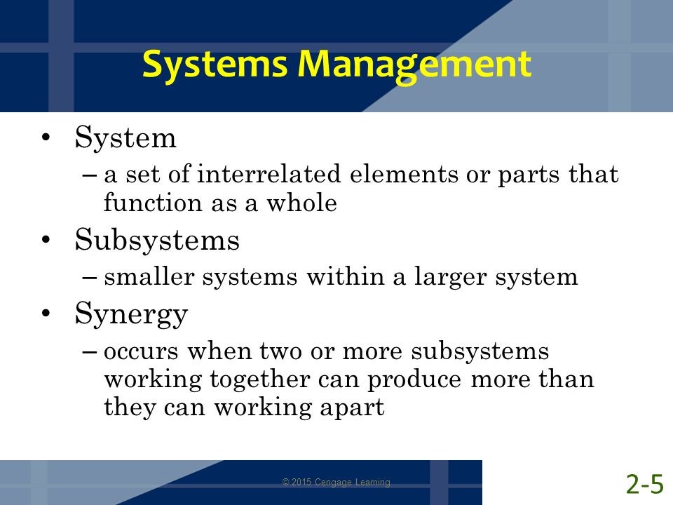 Systems Management System Subsystems Synergy 2-5