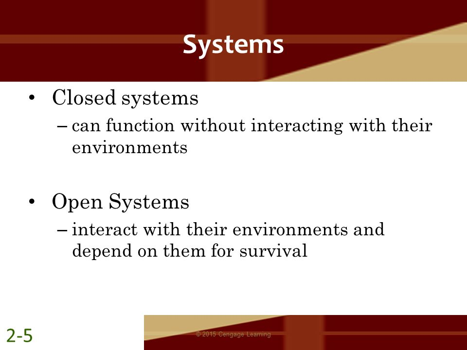 Systems Closed systems Open Systems 2-5