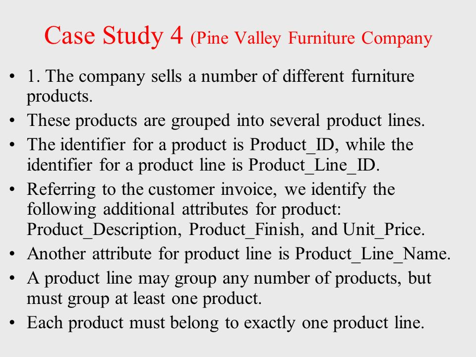 pine valley case study Case study 1 eric j gilbertson question 1) a) pine valley furniture developed its applications in-house there are several plausible reasons for why the company chose this option.