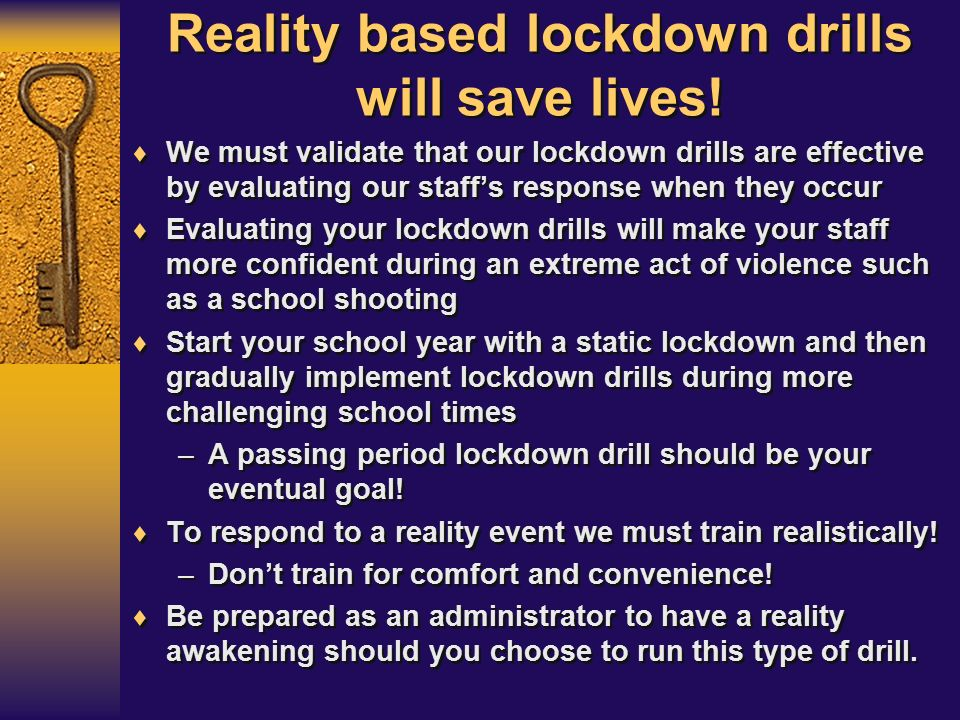 how to realistic drill and evaluate your lockdown plan ppt video online download. Black Bedroom Furniture Sets. Home Design Ideas