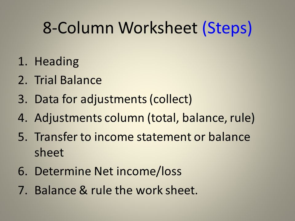 unit 12 worksheet adjustments financial statements ppt video online download. Black Bedroom Furniture Sets. Home Design Ideas