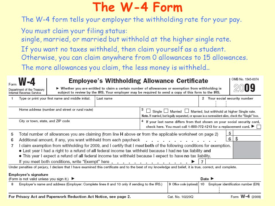 the w 4 form the w 4 form tells your employer the withholding rate