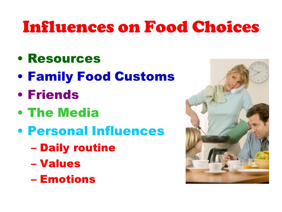 influences on my familys food choices Of all the factors that influence a child's food choices, parental and household influences have the biggest effect, according to the baystr center for natural health because children learn by imitating others around them, it is critical that family members set a good example when it comes to healthy eating.