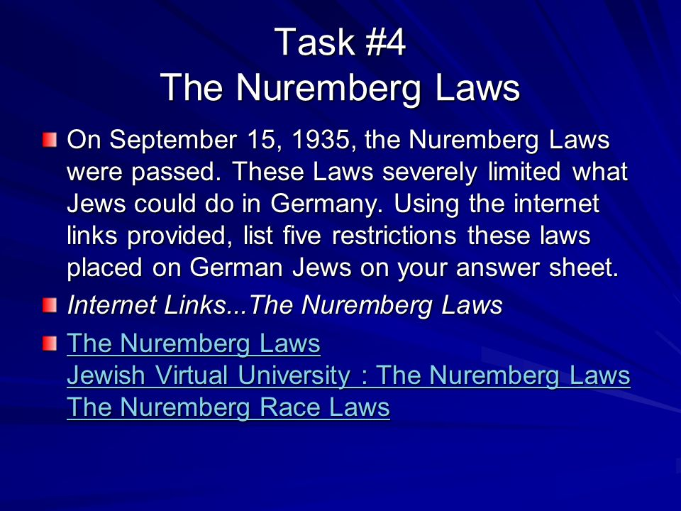 the nuremberg laws The nuremberg laws were passed in nazi germany in 1935 these laws decided  who was a jew and who was not, and took away the rights of the jews living in.