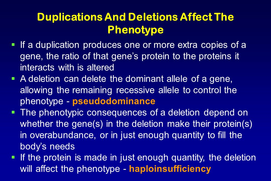 Duplications And Deletions Affect The Phenotype