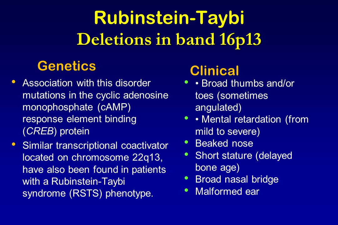 Rubinstein-Taybi Deletions in band 16p13
