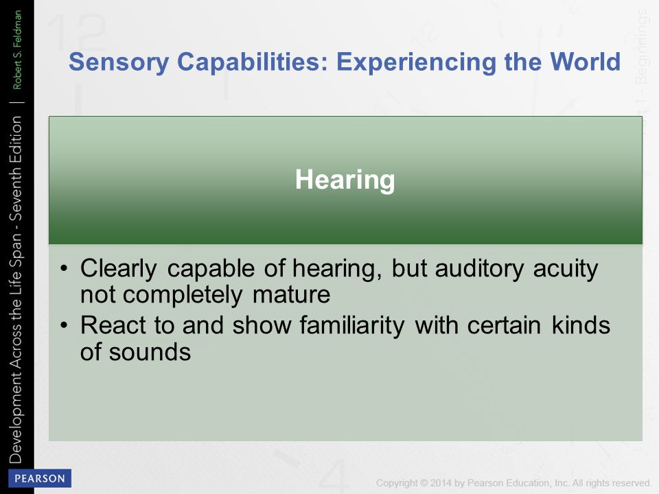 sensory capabilities of newborns System sensory capabilities • basic components of vision • how well do  infants hear • smell and taste motor development • reflexes: the infant's first.
