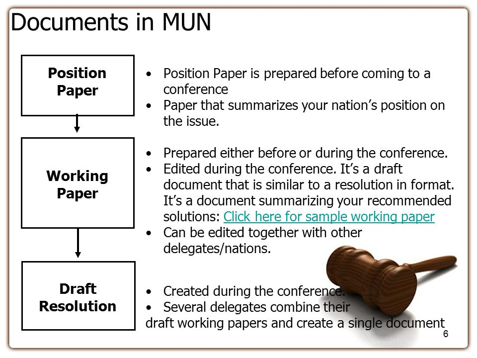 how to write a working paper mun