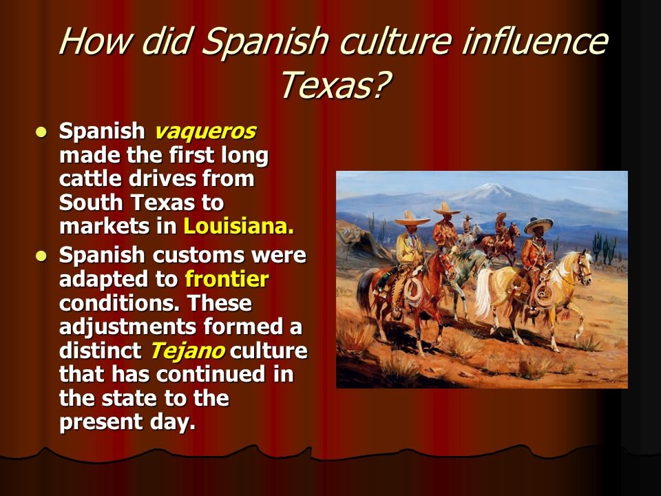spanish influence The spanish influence on filipino culture has been profound, having originated from the spanish east indies a variety of aspects of the customs and traditions in the.