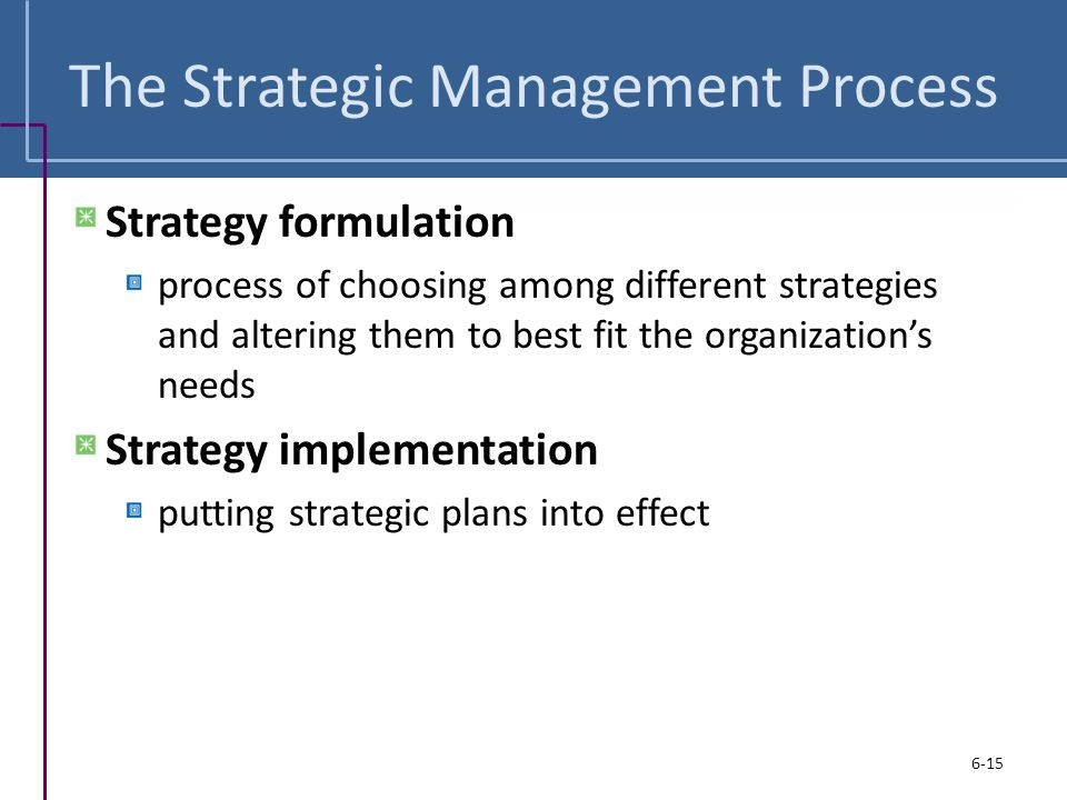 effect of strategic management on organization Choosing strategies for change the authors found that successful strategic choices for change are management in one rapidly growing electronics company devised a way to help people adjust to frequent organizational changes first, management staffed its human resource department with.