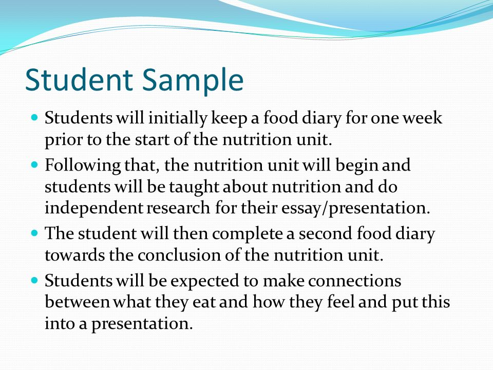student sample students will initially keep a food diary for one
