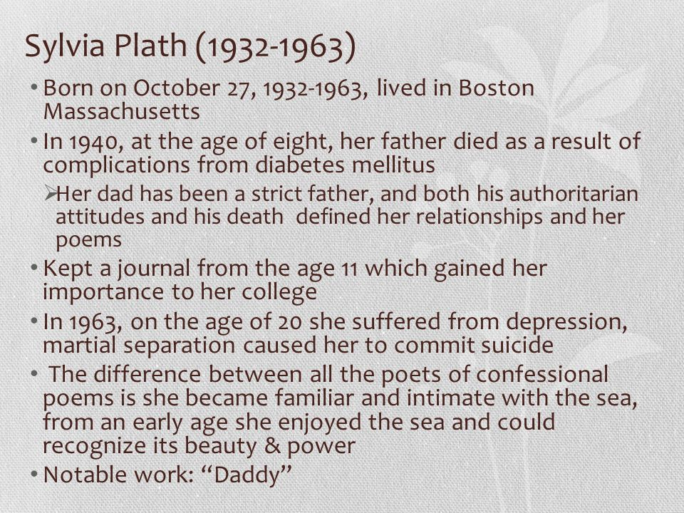 "role of father and language in sylvia plaths poem daddy The poem ""daddy"" was written by sylvia plath while ""diving  sylvia plaths parliament hill  let us find you essays on topic lady lazarus by sylvia plath."