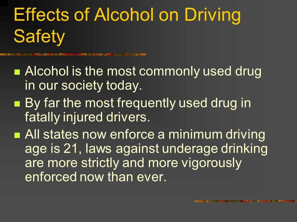 an introduction to the effects of alcohol on drivers Alcohol and its effects on the alcoholic as accidental injury or death resulting from drunk drivers, loss of short-term effects of alcohol usually only.