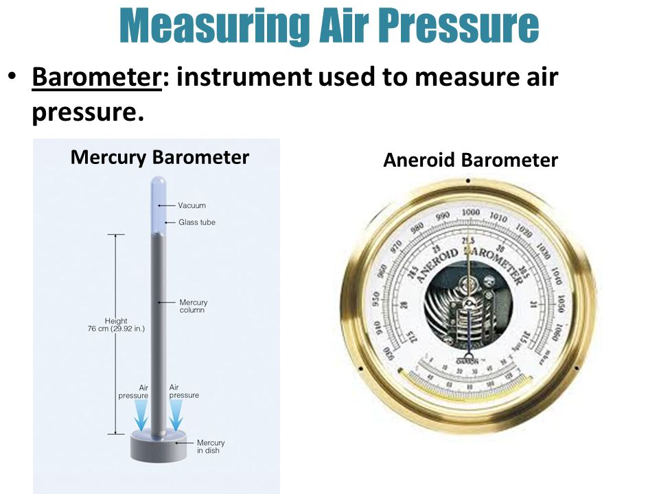 Pressure Measuring Instruments : Air temperature pressure and density ppt video online