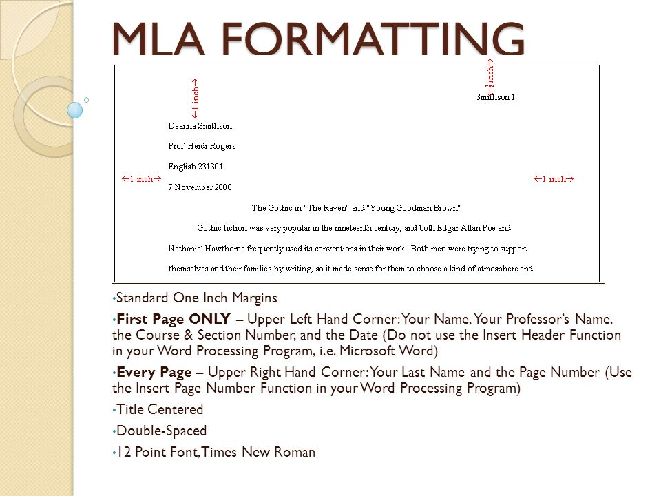 what is standard mla format