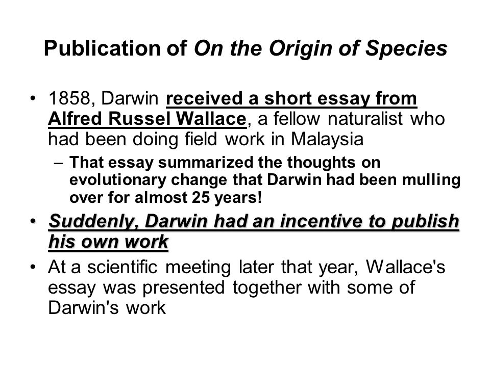 essay on the origin of species