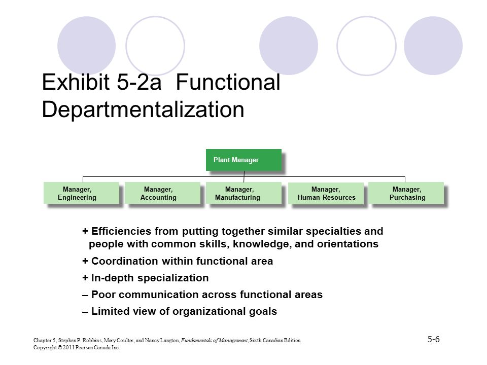 Exhibit 5-2a Functional Departmentalization
