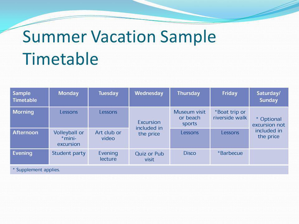 Summer Vacation Sample Timetable