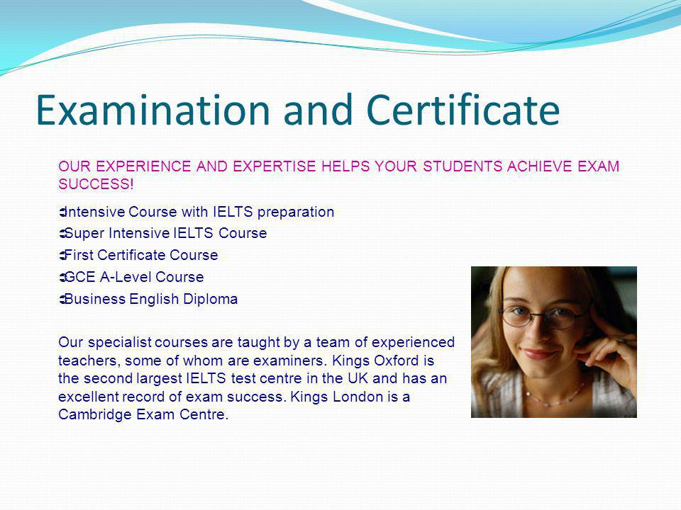 Examination and Certificate