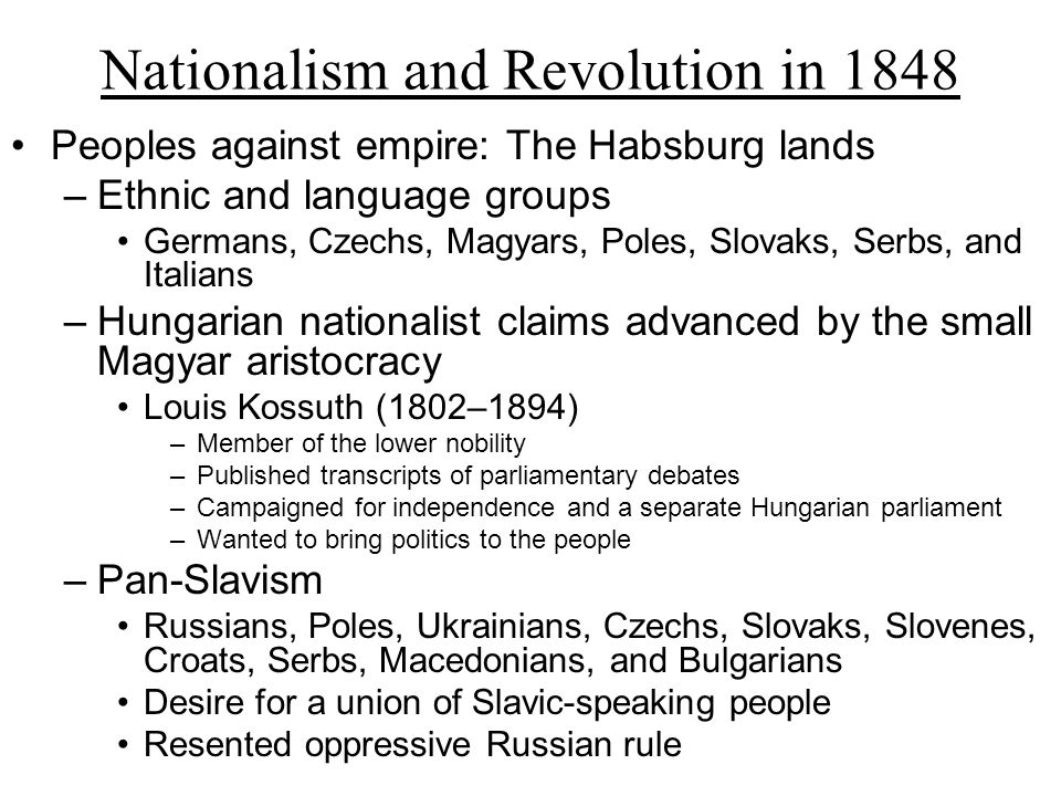an analysis of nationalism and national movements from 1848 to 1871 Study guide - unit eight: nationalism and unification due date assignment as the book introduces the section on the responsive national state, what is the main argument that it is making how was the balance of power in europe changed in the period 1848-1871.
