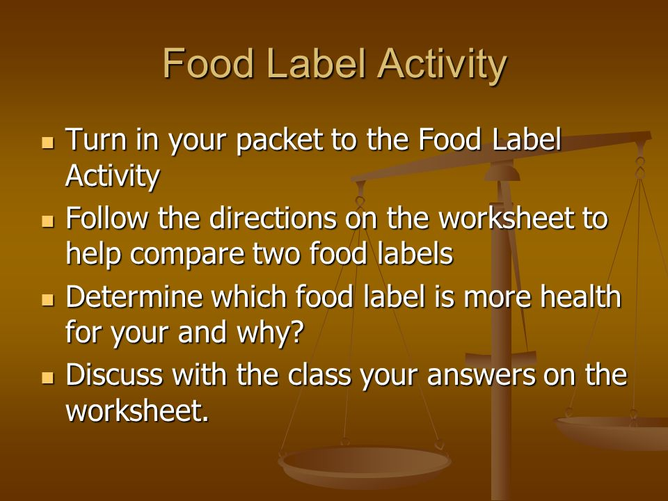 Food labelling activities ks2