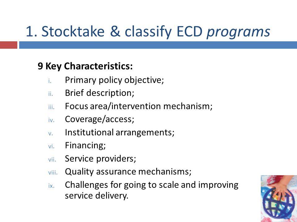 1. Stocktake & classify ECD programs