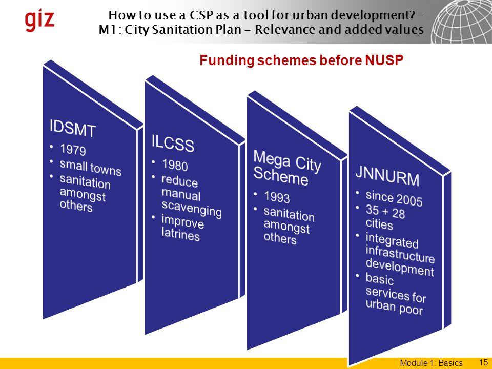 Funding schemes before NUSP