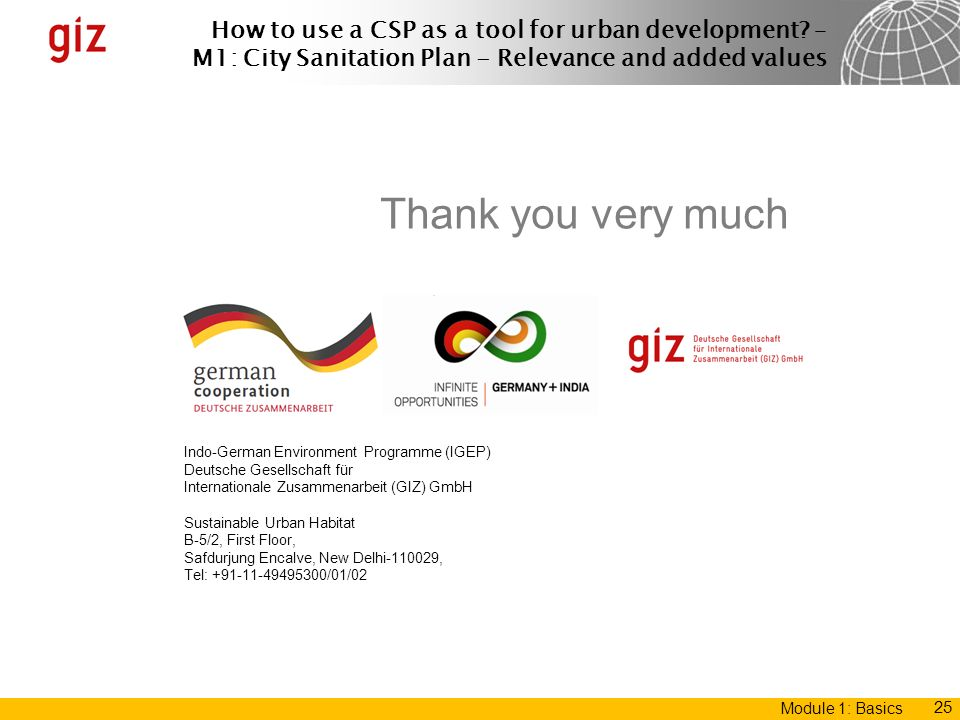 Thank you very much Indo-German Environment Programme (IGEP)