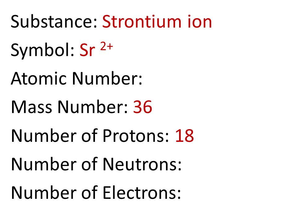 Ions and isotopes ppt download 63 substance strontium ion symbol sr 2 atomic number mass number 36 number of protons 18 number of neutrons number of electrons urtaz Image collections