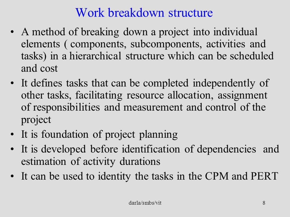 wbs and budgeting monitoring complimenting each other Work breakdown structure (wbs) is simply a set of all steps in a project and the resource requirements (money, staff, raw materials, and so on) for each step.