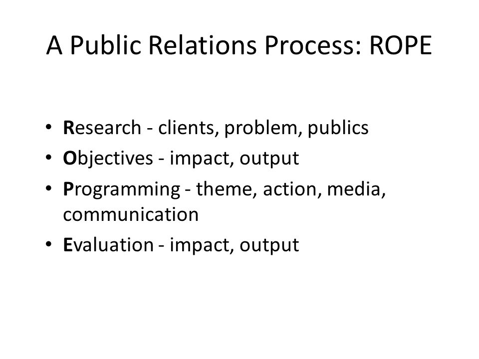 public relations process Public relations describes the various methods a company uses to the point of public relations is to make the public think favorably about the company and its offerings commonly used tools of public relations building good will and helping avoid misunderstandings in the process.
