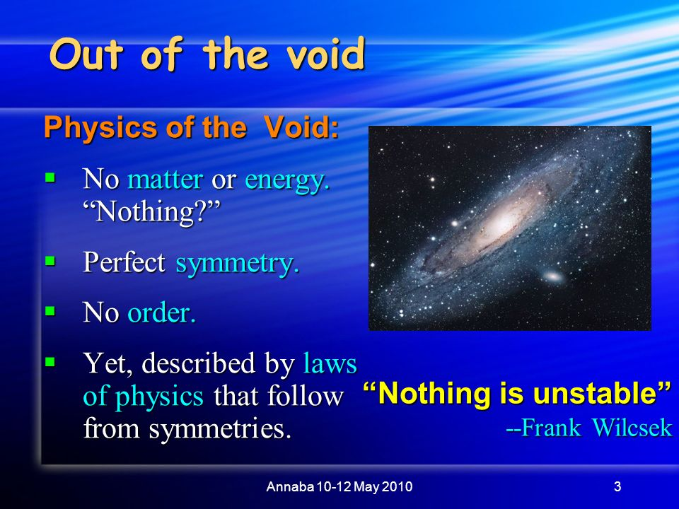 does the void exist It depends on what you mean by a void there can be two ways of interpreting a  void:  a place where the concentration of a certain substance is less than the.