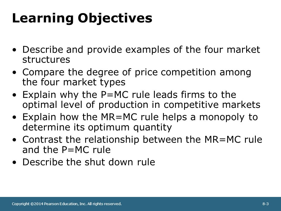 Chapter Outline Competition and market types in economic analysis ...