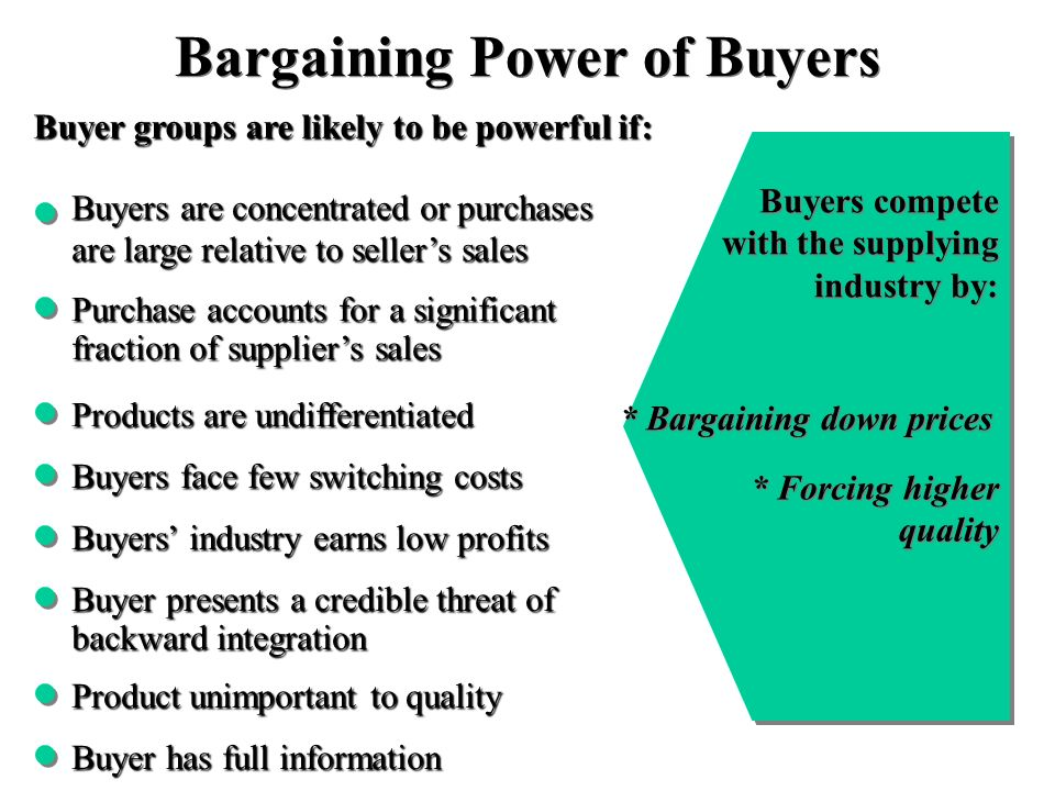 bargaining power of buyers marketing essay Free essays on retailers bargaining power  marketing plan  s five forces analysis 361 bargaining power of suppliers 362 bargaining power of buyers.