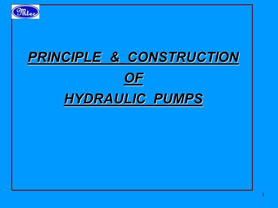 PRINCIPLE & CONSTRUCTION OF HYDRAULIC PUMPS