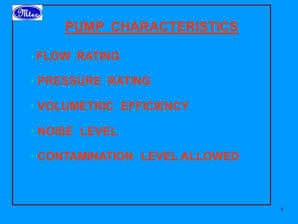 PUMP CHARACTERISTICS PRESSURE RATING VOLUMETRIC EFFICIENCY NOISE LEVEL