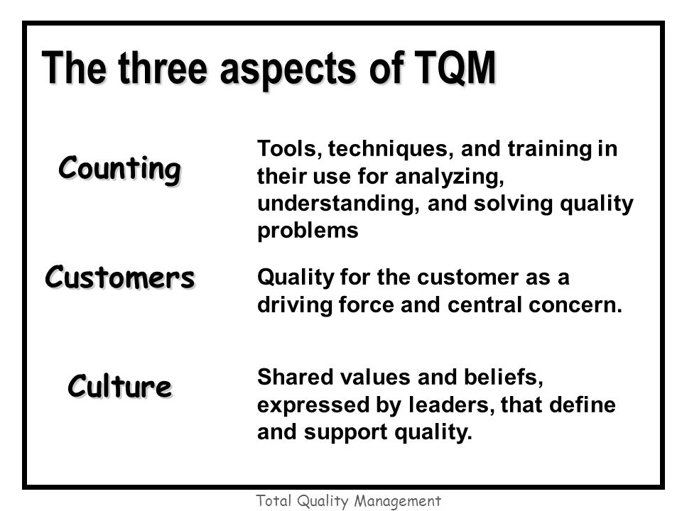 total quality culture definition Organizational culture is defined as the shared beliefs, values,  quality culture  starts with leadership that understands and believes the.